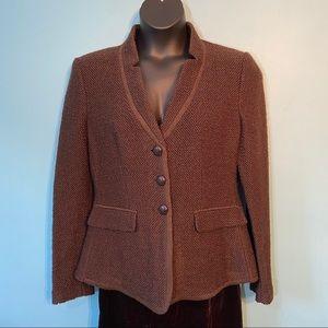 Armani Collezioni textured knit blazer in size 16